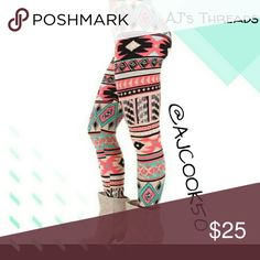 "✨Coming Soon✨Pink and Teal Tribal Pattern Leggings Stylish pink, teal and black tribal pattern leggings Material: Polyester/Cotton Blend Sizing: fits sizes small - large Waist:29.6"" - 39.4"" Hip: 25.6"" -43.3"" Length: 35.4"" - 37"" 🎁Free gift with purchase($20 and up) 🛍Bundle and save %10 Pants Leggings"
