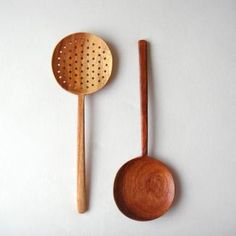 japanese wooden ladles  I love how they are paired up.  I like the idea of having two different colors, but also the option to have them the same.  I would make mine with a slightly larger bowl.  LOVE