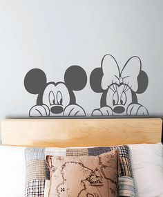 Minnie and Mickey Mouse Wall Decal https://www.etsy.com/uk/listing/203402640/children-s-nursery-wall-decal-minnie-and?ref=shop_home_active_6