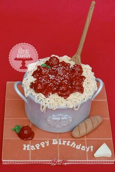 """A 7"""" pot of spaghetti cake. Free tutorial coming soon! Birthdays for Big People 
