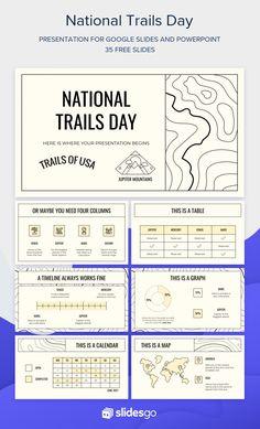 Slideshow Presentation, Presentation Design, Presentation Templates, Powerpoint Design Templates, Powerpoint Themes, National Trails Day, Portfolio Layout, Slide Design, Study Tips