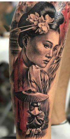 Mom Tattoos, Tattos, Sleeve Tattoos, Bicep Tattoo, Forearm Tattoos, Realistic Tattoo Sleeve, Female Samurai, Japonese Girl, Japan Tattoo