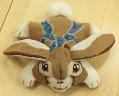 Finished 3D bunny in needlepoint