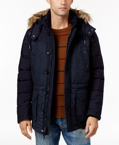 29536f518549 Tommy Hilfiger Men s Fletcher Hooded Parka with Faux-Fur Trim Manteau,  Hiver, Manteau