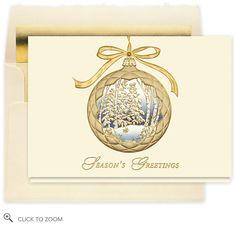 Tranquil Vision Christmas Card - Business Christmas Cards. Centered on a creamy background and hanging from a gold foil bow, this embossed gold frost quilted ornament is hollowed out to display a forest wonderland scene of frosty white evergreens and birch trees against a shadowy, winter blue sky.. Price: $39.60