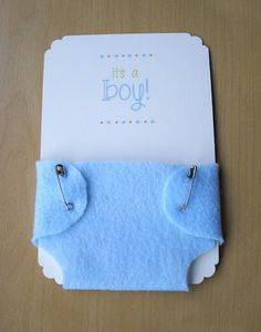Boy Baby Shower Invitations Blue Diaper by EnveloveInvitations, via Etsy.