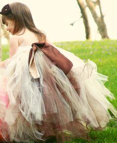 Fall Flower girl tutu dress, Autumn tutu, Chocolate Brown Champagne Tutu Dress/Gown. Fully Reversable tutu dress.. $84.95, via Etsy.