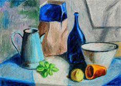 Still life Oil pastels a3.