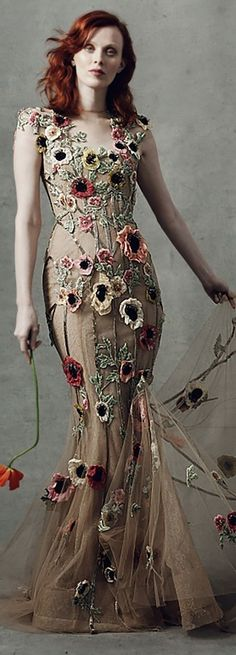 Georgina Chapman, Witchy Outfit, Dark Flowers, Floral Fashion, Marchesa, Designer Collection, Women Wear, Glamour, Couture