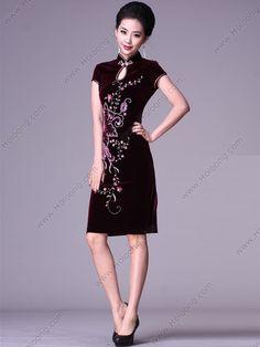 WineRed Everyday Improve Vintage Short qipao Velour Cheongsams Dresses
