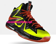 Lebron 10 Elite Infrared Anthracite Lime Green Cheap Lebron James Shoes