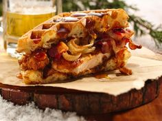 Here�s a new take on chicken �n� waffles�made better with beer, bacon, and bourbon.  It�s the ultimate manly man meal.