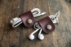 Horween Gift Personalized leather Cable by PodkovaShop on Etsy