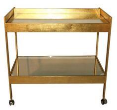 brass bar cart from Worlds Away