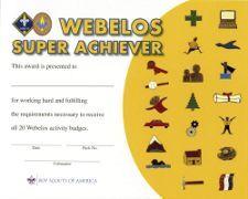 Webelos Super Achiever Certificate