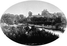 The Dean Castle ruins on a slide by Kilmarnock historian Ian H Macdonald