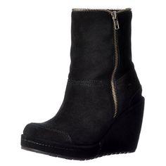 6e2c621f6d13 Rocket Dog Womens Boyd Fur Lined Suede Wedge Heel Platform Ankle Boots -  Black