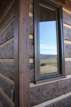 "Philipsburg, Montana Residence  Profile: 16"" Hand-Hewn EverLog™ Concrete Log Siding Color: Natural Brown"
