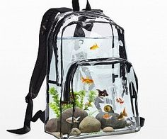 """Aquarium Backpack $500.00 I don't even know why this would be a thing since fish don't do well """"on the go""""."""