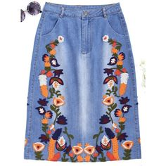 Floral Embroidered Midi Denim Skirt Denim Blue S ($27) ❤ liked on Polyvore featuring skirts, zaful, calf length denim skirts, blue skirt, blue denim skirt, mid calf skirts and mid calf denim skirt