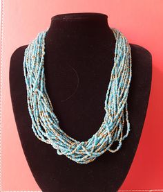 Vintage 60's Old Blue Glass and Brass Seed Bead Multi-strand Choker w Coin Button Fastening - India Circa 1960