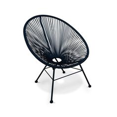Ensemble de 2 fauteuils Acapulco chaise oeuf design rétro, avec table d'appoint, ALICE S GARDEN