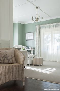 Resene Spanish Green is a bold slice of colour in the otherwise soft colour palette. Project by David Wraight Cottages, photo by Juliet Nicholas. http://www.habitatbyresene.co.nz/kirsty-and-david-set-tone-old-new