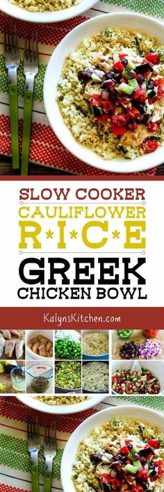 Shredded slow cooker Greek Chicken is served over cauliflower rice and topped with Greek-style salsa in this delicious Slow Cooker Cauliflower Rice Greek Chicken Bowl; this tasty recipe is low-carb, gluten-free, and South Beach Diet friendly and it could be Whole 30 or Paleo if you omit the cheese. [found on KalynsKitchen.com]