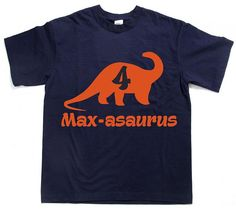 Personalized Dinosaur shirt WANT IT FASTER? CLICK HERE TO ADD RUSH FEE TO YOUR ORDER https://www.etsy.com/listing/276499336/rush-my-order-plus-upgrade-my-order-to?ref=shop_home_listings You give us the childs name and then -asaurus will be added after :) Age inside dino for birthday