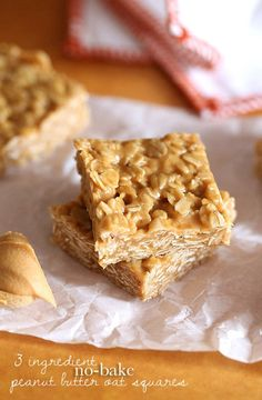 These simple 3 Ingredient No Bake Peanut Butter Oat Squares can be thrown together in minutes.