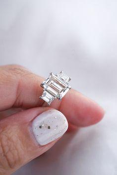 Emerald Diamond Center Stone with Trapezoid Side Stones Emerald Cut Engagement, Diamond Engagement Rings, Emerald Diamond, Diamond Rings, Stones, Jewelry, Rocks, Jewlery, Jewerly