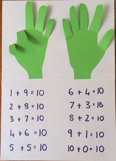 In this activity, students will work independently to use the hands to count to find the answer to the math problems. Math Classroom, Kindergarten Math, Classroom Activities, Toddler Learning, Toddler Activities, Educational Activities, Preschool Activities, Material Didático, Paper Crafts For Kids
