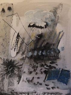 """""""Het weer doorheen een knoopsgat.""""  Ada Besselink 21 jan 2016 verf en krijt 30x 40 cm"""