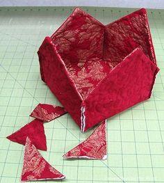 Fabric Basket tutorial 2 christmas fabrics 4 corners sewed and cut - Diy Fabric Basket