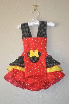 Red polka dot Minnie Mouse sunsuit Minnie mouse Halter Minnie mouse outfit Minnie ruffled romper Minnie mouse by boogerbearpunkinpooh
