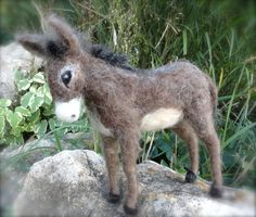 needle felted donkeys | Needle Felted Donkey Burro Nativity Animal by ClaudiaMarieFelt