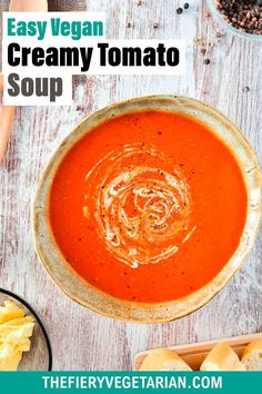 This easy creamy homemade vegan tomato soup recipe is the best tomato soup recipe you can make from pantry essentials in under half an hour! Simple and quick, make it without chopping, stirring or blending. No muss, no fuss, just throw eight ingredients (including coconut milk - don't worry you can't taste it) in a pot and cook for 20 minutes. Done! What will you serve with yours? Visit and see the quick recipe video if you're a more visual person. Vegetarian Lunch Ideas For Work, Easy Vegan Lunch, Quick Easy Vegan, Vegan Lunches, Vegan Mushroom Soup, Vegan Tomato Soup, Vegan Stew, Tomato Soup Recipes, Spicy Vegetarian Recipes