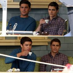 Zac Efron and Dave Franco having a tea party on a porch, possibly gossiping, and mugging the paparazzi.....the world just ended.