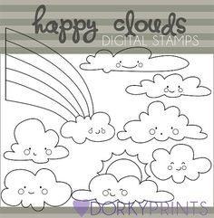 Kawaii Clouds Digital Stamp Set -Personal and Commercial- Happy Cloud Rainbow Black Line Art