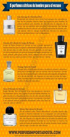 5 perfumes cítricos de hombre para primavera y verano.  #infografía #perfumes