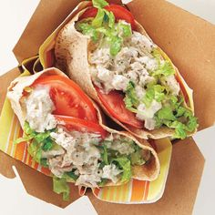 This tuna salad keeps in the fridge for up to one week. When you're ready to enjoy it for lunch, spread the tuna salad in pita pockets and add lettuce and tomato. Canned Tuna Recipes, Cooking Recipes, Healthy Recipes, Healthy Foods, Clean Recipes, Diabetic Recipes, Yummy Recipes, Yummy Food, Healthy Sandwiches