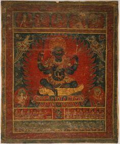 Shiva as Bhairava with Ganesha and Skanda, newari pauba (thangka)