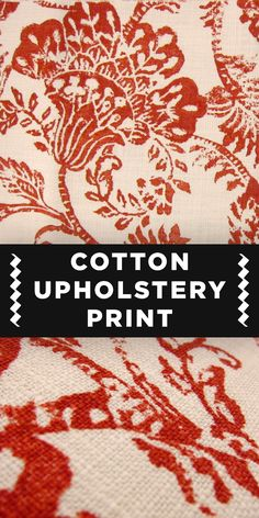 Red Stamp-Style Floral 100% Cotton Upholstery Print