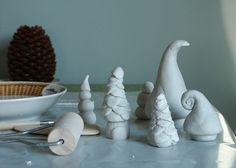Variety of clay christmas trees - a display like the cactus for mantel piece. ORNAMENT