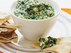 Greek Spinach Dip   This savory Greek spinach dip takes its flavor cues from spanakopita. Serve it with warm pita bread or crisp crudités.