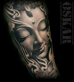 Oskar Figueroa - Ink on Sky Buda Tattoo, Buddha Tattoo Design, Buddha Lotus Tattoo, Temple Tattoo, God Tattoos, Hindu Tattoos, Symbol Tattoos, Shiva Tattoo, Oriental Tattoo