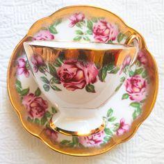 Sensational Salisbury 1950's Gold Dipped Floral Teacup and Saucer