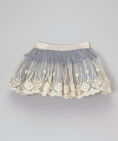 Look at this Frills du Jour Blue & Gold Overlay Skirt - Infant, Toddler & Girls on #zulily today!