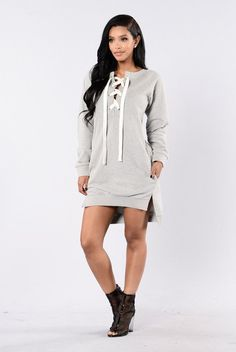 - Available in Grey - Shoe Lace Cross Up - Long Sleeve - Side Slits - Over-sized - Cotton/Polyester