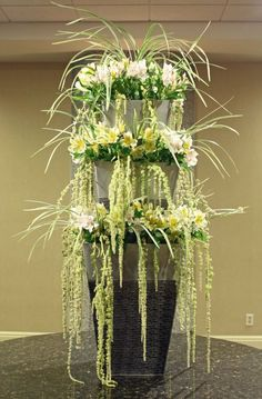Cascading floral fountain by Crossroads Florist, Mahwah NJ